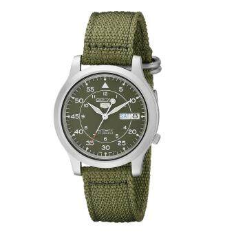 Seiko Watch 5 Automatic Green Stainless-Steel Case Nylon Strap Mens NWT + Warranty SNK805K2