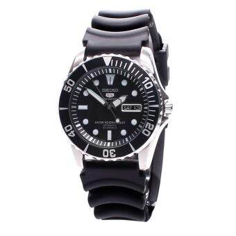 Seiko Watch 5 SPORTS Black Stainless-Steel Case Rubber Strap Mens JAPAN NWT + Warranty SNZF17J2
