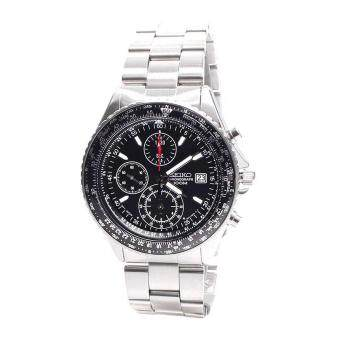 Seiko Watch Flightmaster Pilot Slide Rule Chronograph Silver Stainless-Steel Case Stainless-Steel Bracelet Mens Japan NWT + Warranty SND253P1