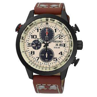 Seiko Watch Prospex Solar Chronograph Brown Stainless-Steel Case Leather Strap Mens Japan NWT + Warranty SSC425P1