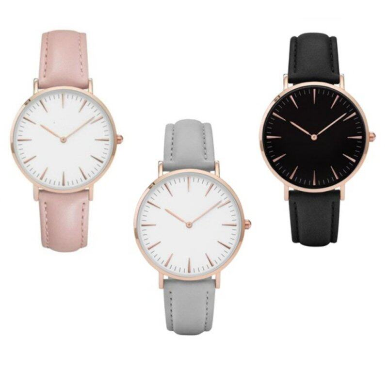 Set of 3*Cluse Womens Leather Strap watch-Black,Pink,Gey Malaysia