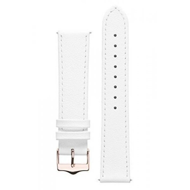 Signature Seasons watch band. Replacement watch strap. Genuine leather. Gold and Rose Gold Buckle (14 mm - short, White - Rose Gold Buckle) Malaysia