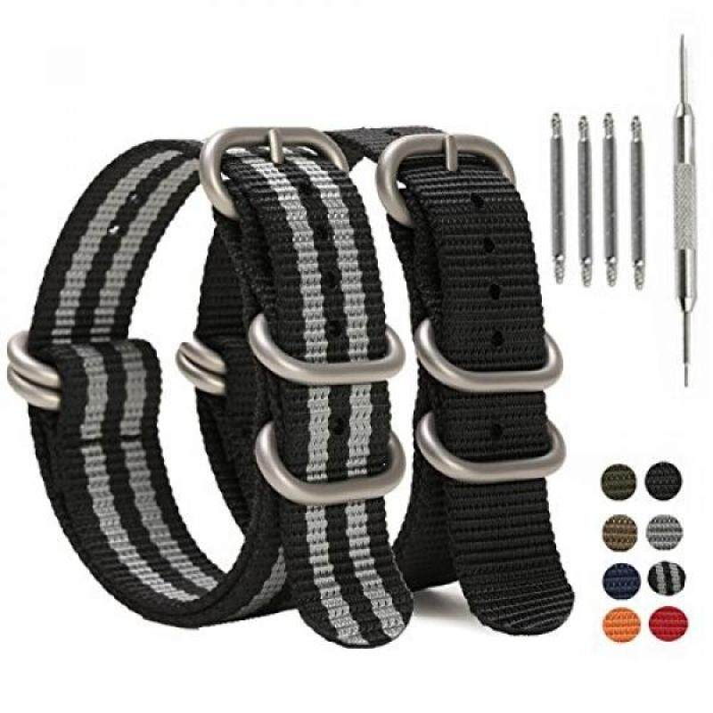 SIMCOLOR Zulu Replacement Watch Bands,2 Pack Nylon Strap with Heavy Duty Brushed Buckle 18mm 20mm 22mm or 24mm Malaysia