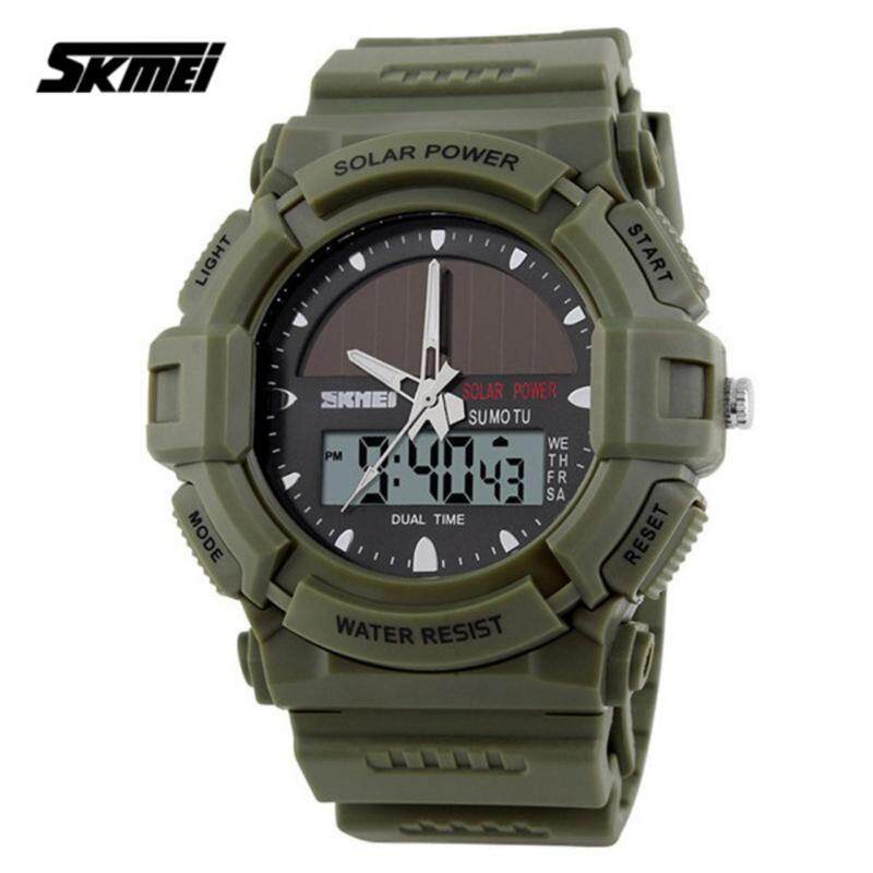 SKMEI 1050 Mens Military Solar Power LED Sports Watch (Green) Malaysia