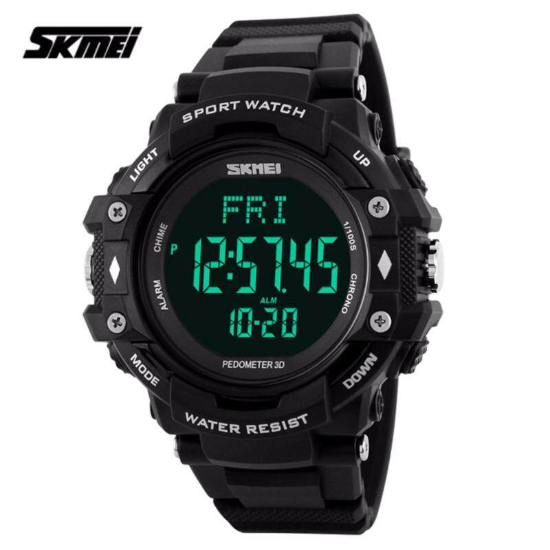 SKMEI 1180 Mens Pedometer Heart Rate Monitor LED Sport Watch (Black) Malaysia