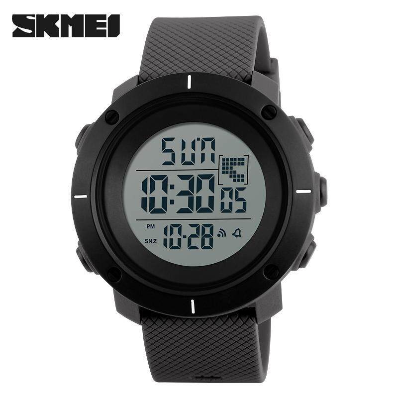 SKMEI 1218 Outdoor Man Sports Military 50M Waterproof Compass Watches Hiking Digital LED Electronic Watch - Grey Malaysia