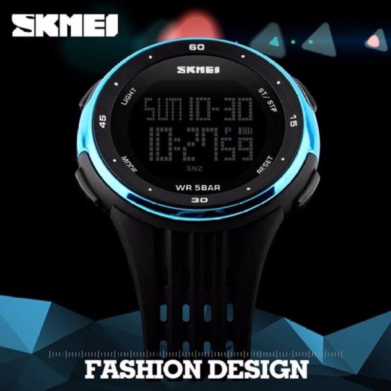 SKMEI 1219 Outdoor Sports Watch Double Time Alarm LED Digital Military Watch (Blue) Malaysia