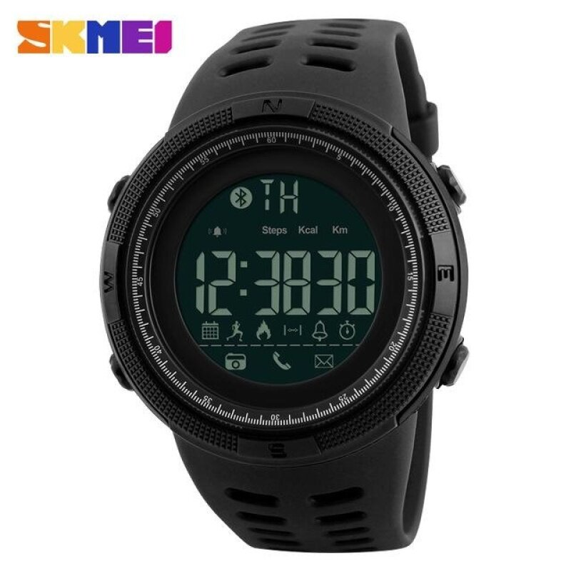 SKMEI 1250 Men Smart Watch Bluetooth Pedometer Calories Chronograph Fashion Outdoor Sport  Backlight Waterproof Man Wristwatches -Black Malaysia