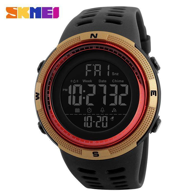 SKMEI 1251 Mens Sports Watches Countdown Double Time Watch Alarm Chrono Digital Wristwatches 50M Waterproof Watches - Black Gold Red Malaysia