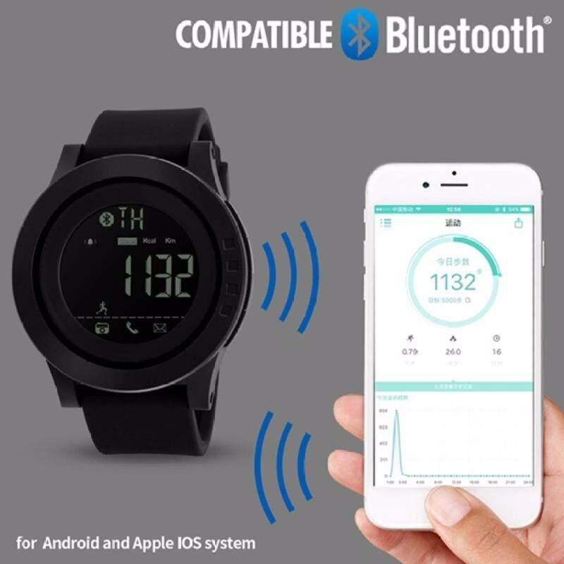 SKMEI 1255 Men Smart Watch Calorie Pedometer Multi-Functions Remote Camera 50M Waterproof Digital Watch (Full Black) Malaysia