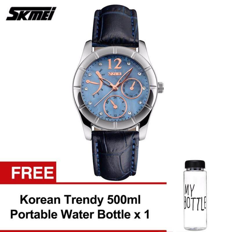 SKMEI 6911 Ladiess Fashion Elegant Quartz Leather Strap Watch (Blue) FREE Water Bottle MyBottle Malaysia
