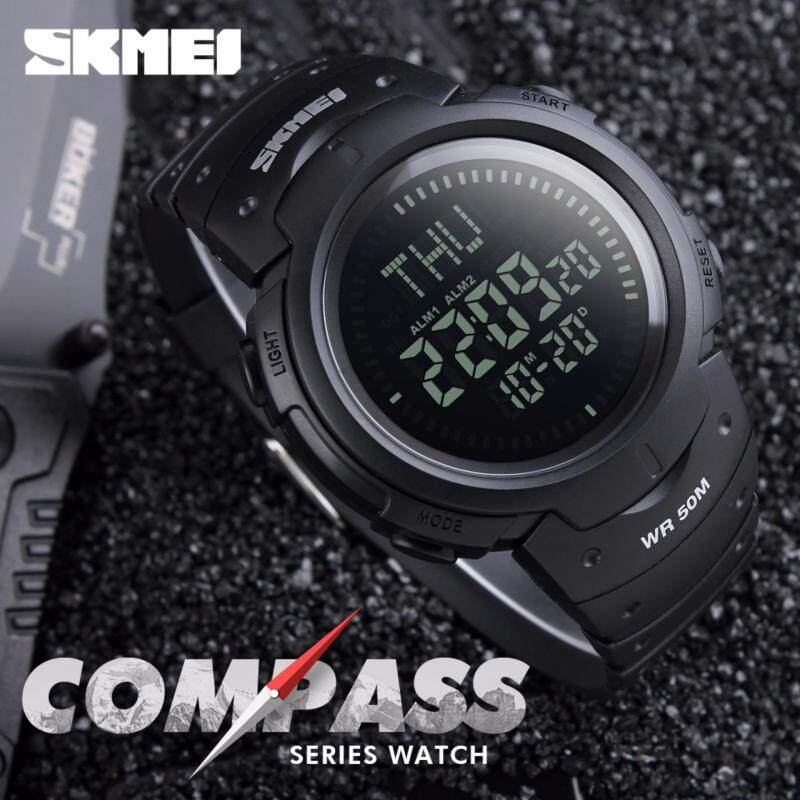 SKMEI Compass Watch 5ATM Water Proof Digital Outdoor Sports Watch Mens Watch EL Backlight Countdown Wrist Watches 1231 Malaysia