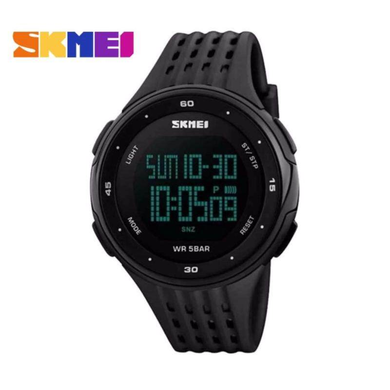 SKMEI LED Digital Military Men Sports Fashion Watches 5ATM Swim Climbing Outdoor Casual Wristwatches - 5 Colors Available - Black Malaysia