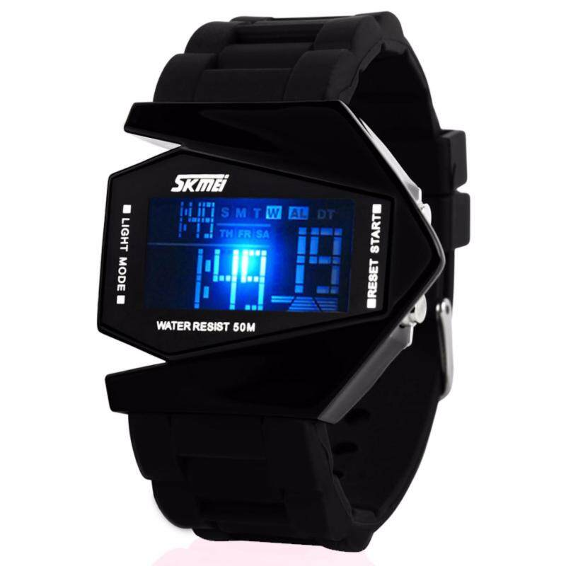 SKMEI Liibot Brand Shape New Unisex Army Pilot Fighter Military Fashion Casual Sports Watches Digital Led Clock Rubber Silicone Jelly 0817 Malaysia
