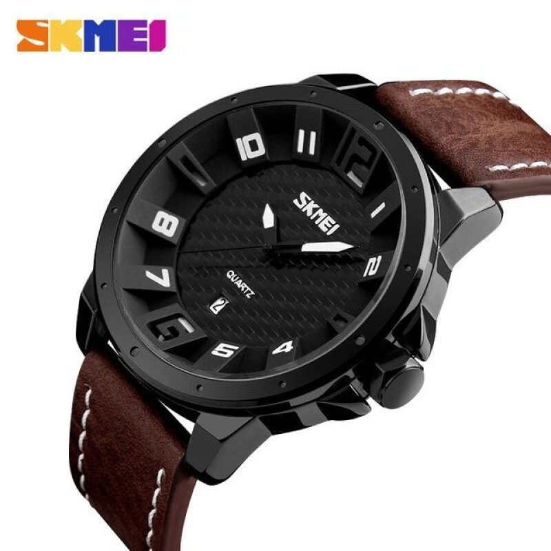 SKMEI Men Fashion Quartz Wristwatches Leather Strap Complete Calendar Waterproof Sports Watches 9150 Brown Malaysia