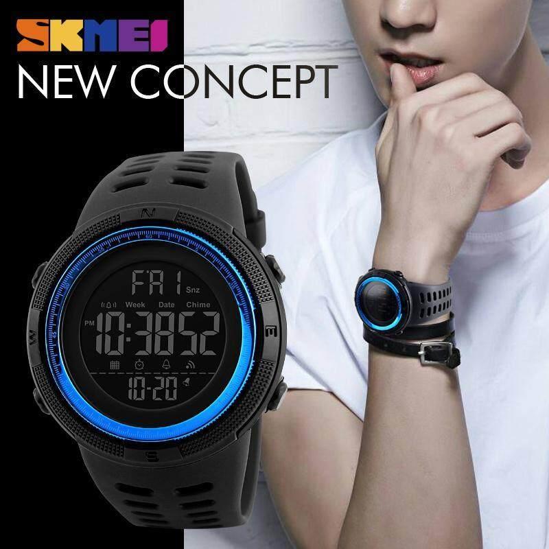 SKMEI Men Sports Watches Countdown Double Time Watch Alarm Chrono Digital Wristwatches 50M Waterproof Watches 1251 - Black Blue Malaysia