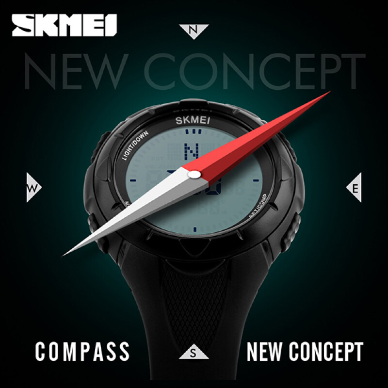 SKMEI Watch 1232 Men Sports Watches World Time Compass Countdown Wristwatches 50M Waterproof 3 Alarm Digital Watch Automatic Army Military Malaysia