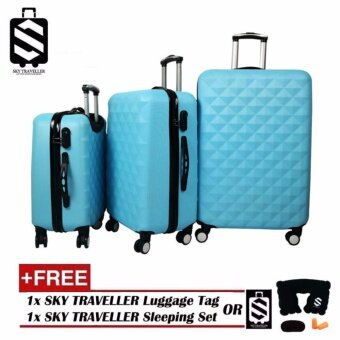 SKY TRAVELLER SKY281 Premium ABS 3-In-1 Hard Case Diamond Luggage With 8 Wheels Set (20Inch+24Inch+28Inch) - Light Blue + (FREE) SKY TRAVELLER Luggage Accessories
