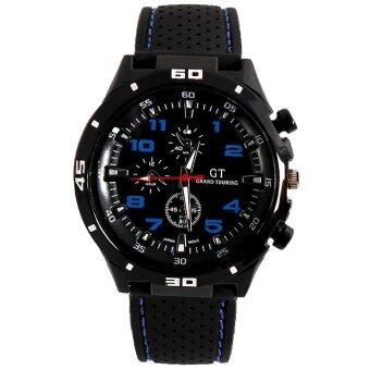 SoKaNo Trendz Blue Number Military Pilot Silicone Sport Wrist Watch