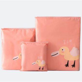 Space Saver Bags Travel Pouch Set Clothing Finishing Storage PocketWaterproof Moisture barrier Bags Reusable Organizer Bag(3pcs/set) -Pink
