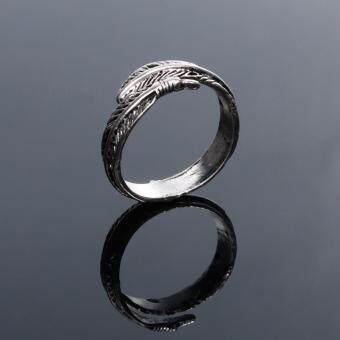 Stainless Steel Rings for Men Women Biker Ring Vintage Feather - 4