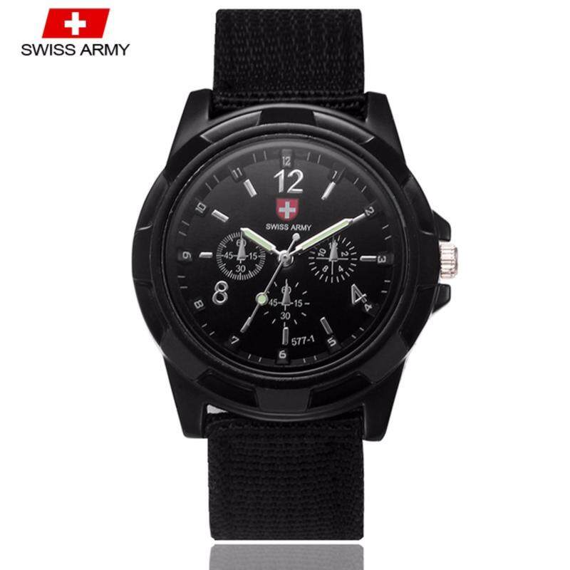 Swiss Army 001 Military Mens Strap 3 Dial Display Fashion Sport Watch (Full Black) Malaysia