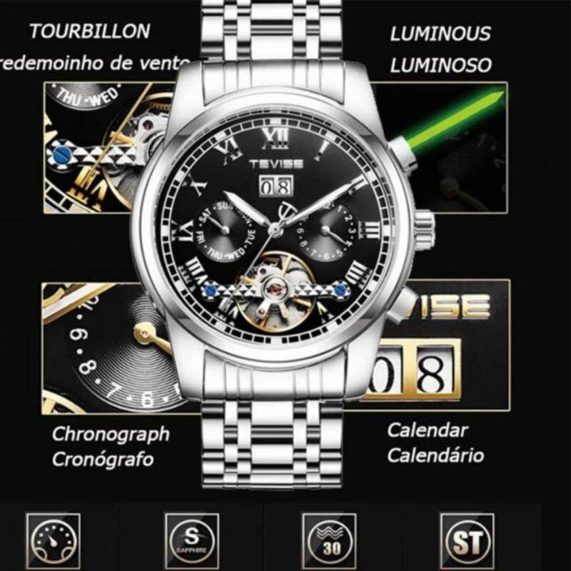 TEVISE 2017 Mens Watches Luxury Top Brand  Sport Mechanical Watch Gold Watch Mens Calendar Automatic Watch with Moon Phase Malaysia