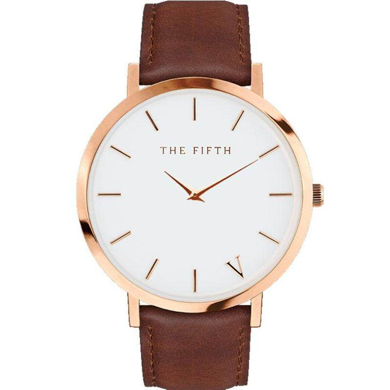 The Fifth Quartz Watch Men Women Famous Brand Gold Leather Band Wrist Watches Relojes 2017 Montre Homme Erkek Kol Wristwatch Malaysia