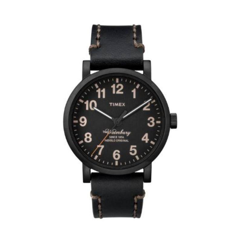 Timex Men TW2P59000 Waterbury  Black Genuine Leather Strap Watch Malaysia