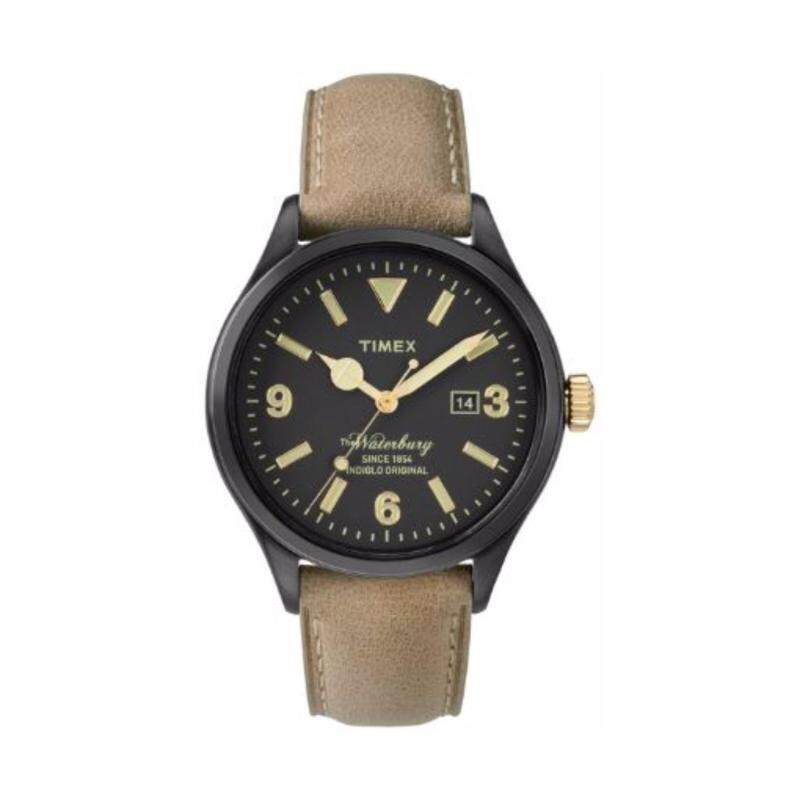 Timex Men TW2P74900 Waterbury  Brown Genuine Leather Strap Watch Malaysia
