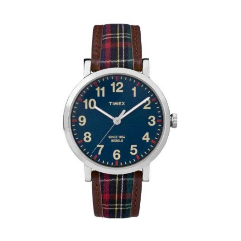 Timex Style-Originals Originals Modern Originals Silvertone Blue Dial Plaid Strap Malaysia