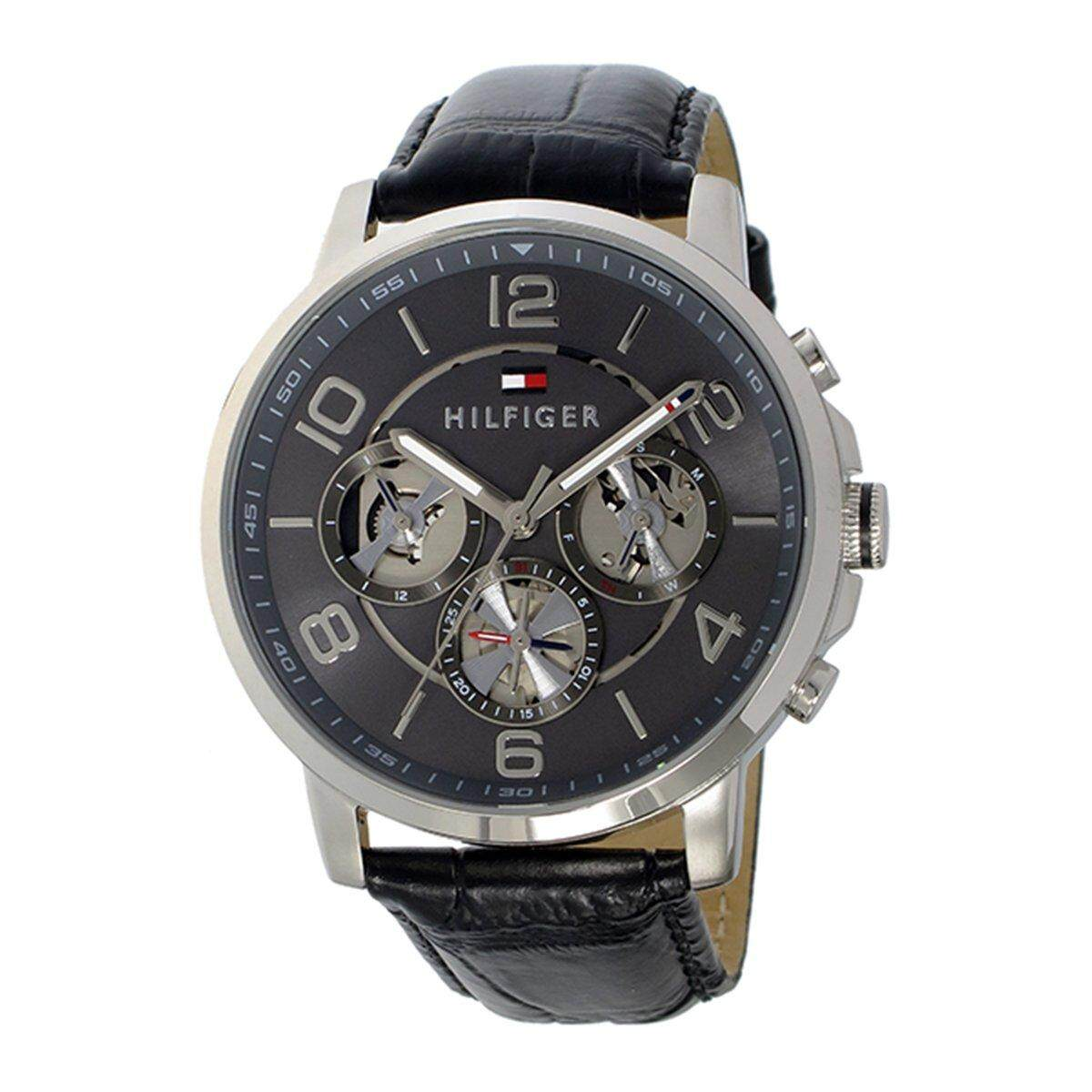 Tommy Hilfiger Watch Sophisticated Black Stainless-Steel Case Leather Strap Mens NWT + Warranty 1791289