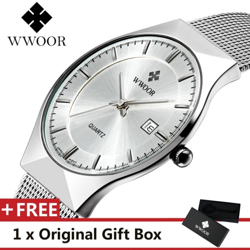 Top Luxury Brand WWOOR Mens Watches Stainless Steel Band Display Quartz Men Wrist watch Ultra Thin Dial Clock Fashion Watch White Malaysia