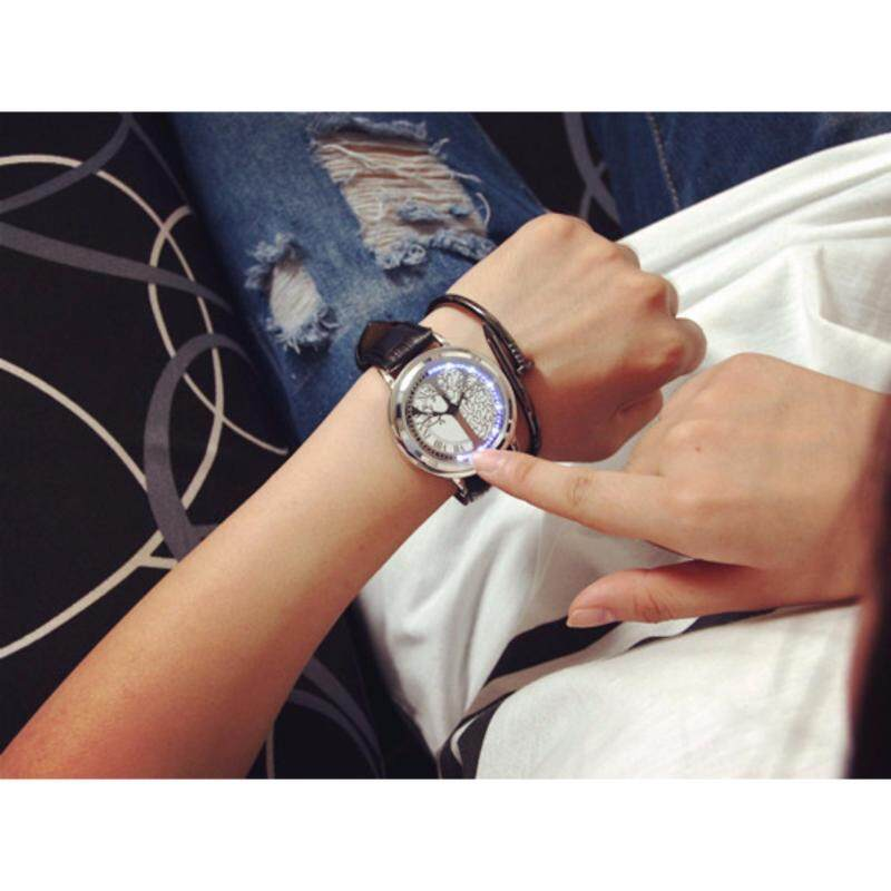 Touch Screen LED Watch Electronic Life Tree Pattern Dial Couple Lovers Smart Quartz Wristwatches(White, 1pcs) Malaysia