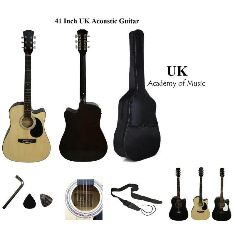 UK 41 Inch Acoustic Guitar with Pickguard+Bag+Allen Key+Guitar Strap+2 Picks(Natural) Malaysia