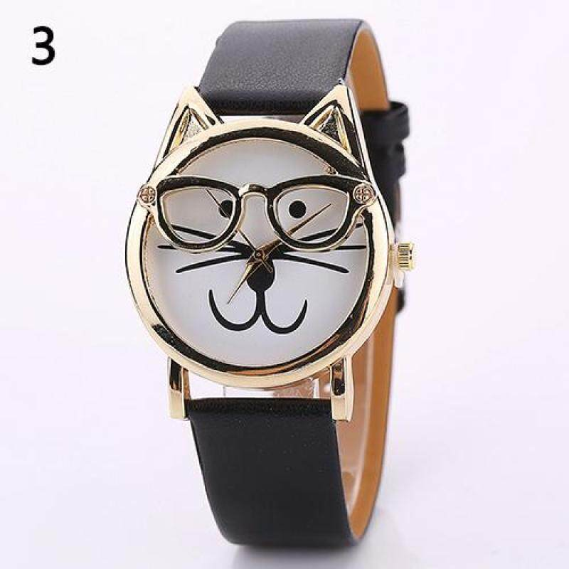 Unisex Faux Leather Band Cute Glasses Cat Case Analog Quartz Wrist Watch (Black) Malaysia