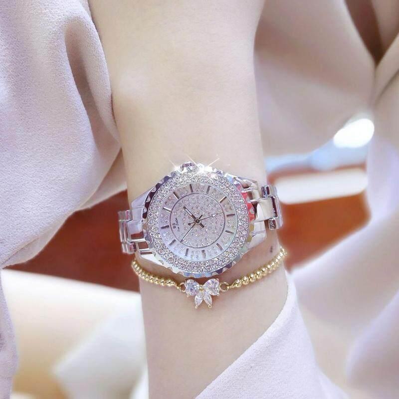 Watches Sunglasses Jewellery Fashion Diamonds Fashion Casual Women Quartz Watch Luxury Gold Stainless Steel Brand Rhinestone Dress Lady Watch (Silver) Malaysia