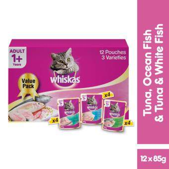 WHISKAS Pouch Multipack Ocean Fish, Tuna, Tuna & Whitefish 85gm (12 Pouches - 3 Varieties) Wet Food