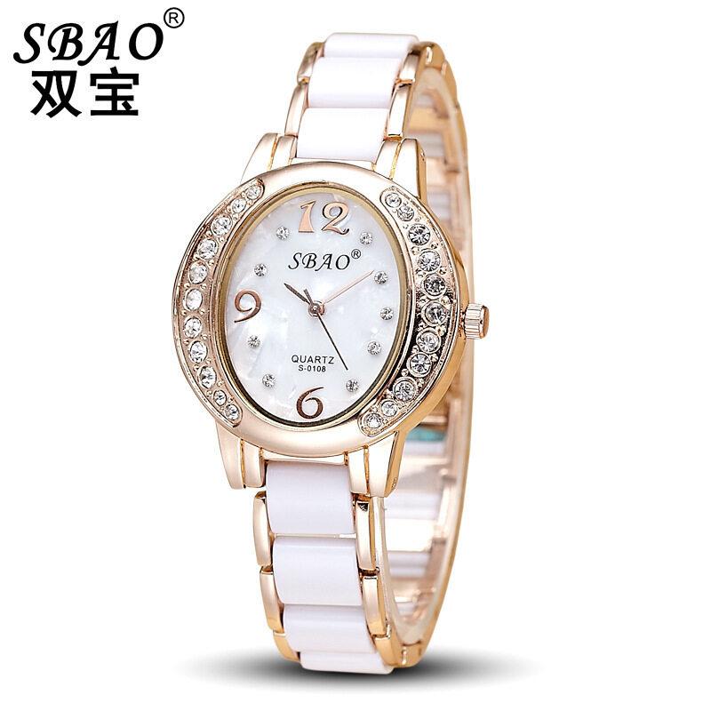 Wholesale new lady ceramic watch oval diamond alloy waterproof quartz watch business lady exquisite Watch Malaysia