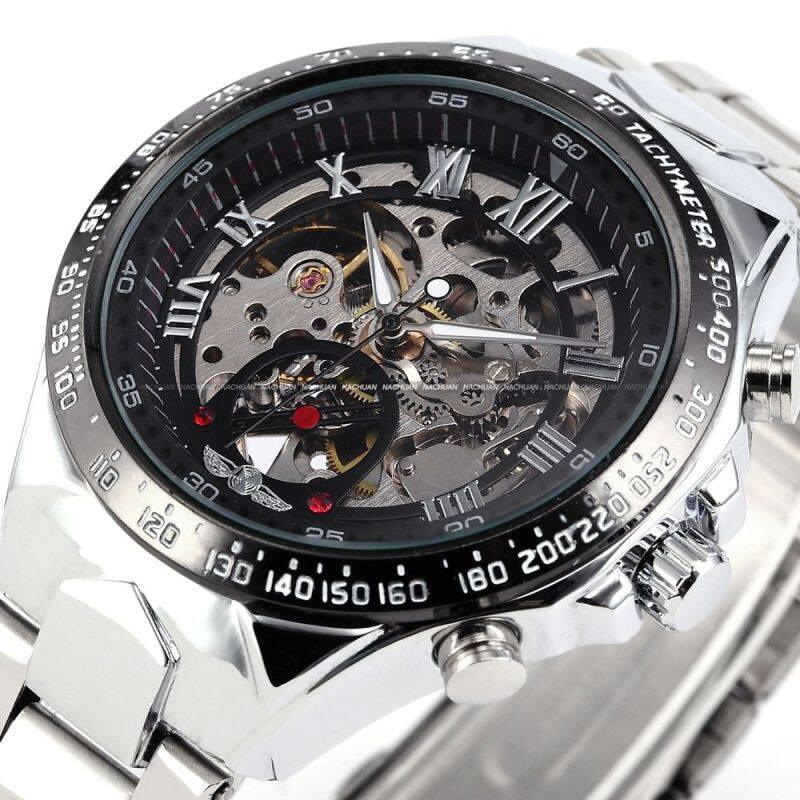 WINNER Stainless Steel Case and Leather Strap Men Male Fashion Business Sport Casual Skeleton Automatic Mechanical Wrist Watch - Black + Silver Malaysia