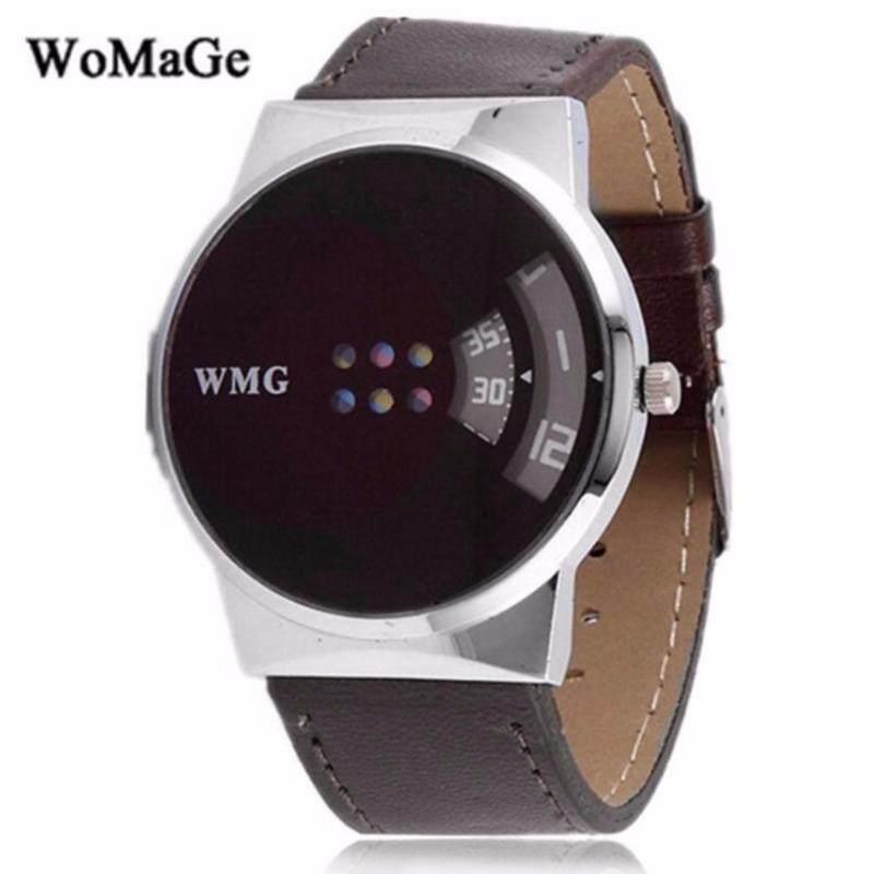 Womage Futuristic Black Leather Strap Fashion Unisex Mens & Womens Digital Watch (Full Black) Malaysia