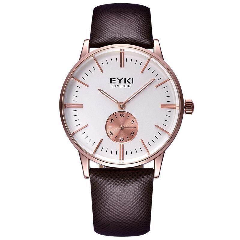 Womdee Bikisoft EYKI Lichade Fashion Leather Watchband men really small dial quartz movement watches wholesale (Brown) Malaysia