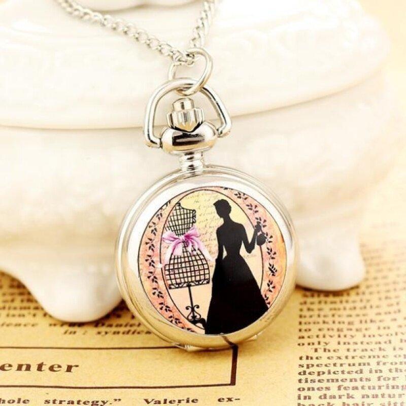 Womdee New Reloj De Bolsillo Dress Necklace Steampunk Watch Pendant Wholesale Dropship High Quality (Silver) Malaysia