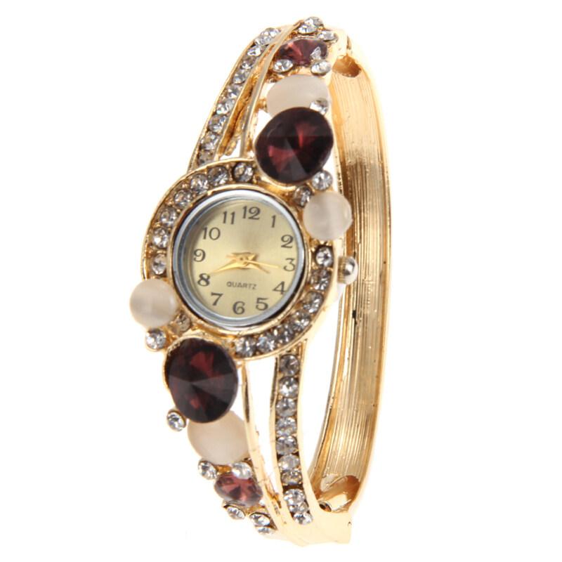 Women Fashion Bangle Crystal Flower Bracelet Analog Quartz Watch NO.6 Malaysia
