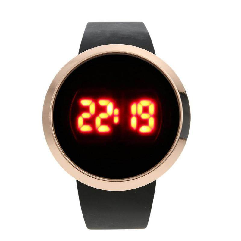 Women Men Electronic Watches LED Touch Alloy Watch Digital Wristwatch(Black) Malaysia