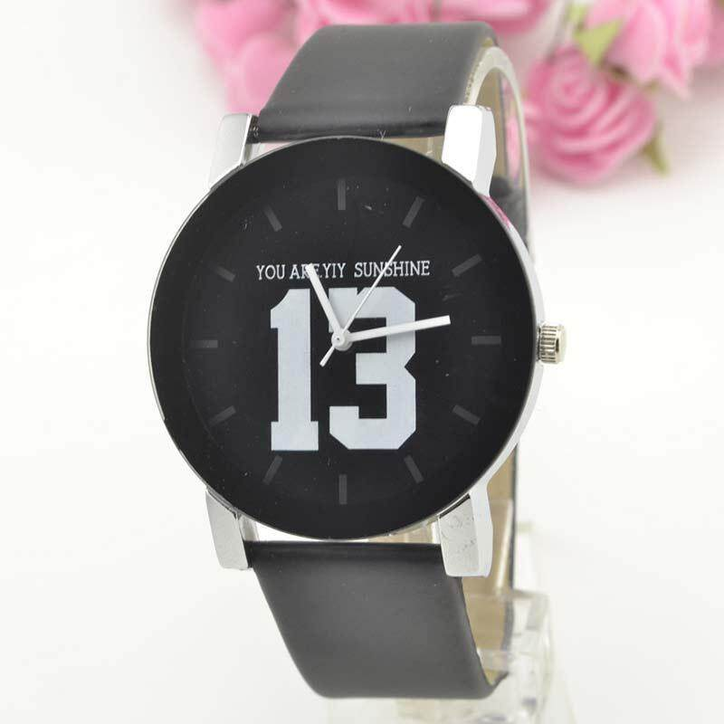 Women Mens Couple Quartz Watch Lover Faux Leather Strap Wrist Watch Malaysia