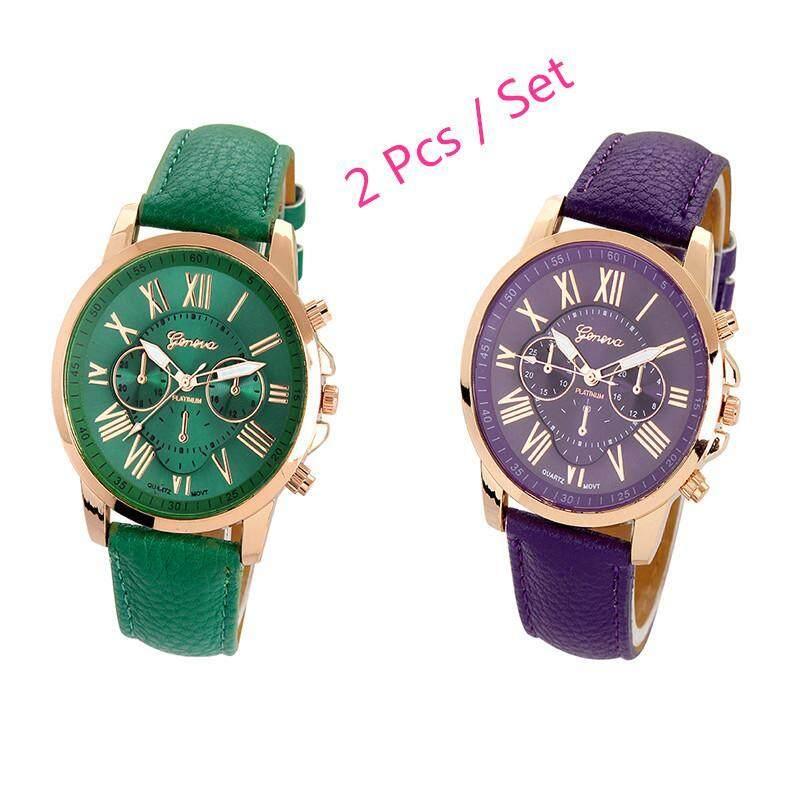 Womens Geneva Roman Numerals Faux Leather Analog Quartz Watch 2 Pcs Set ( Dark Green , Purple) Malaysia