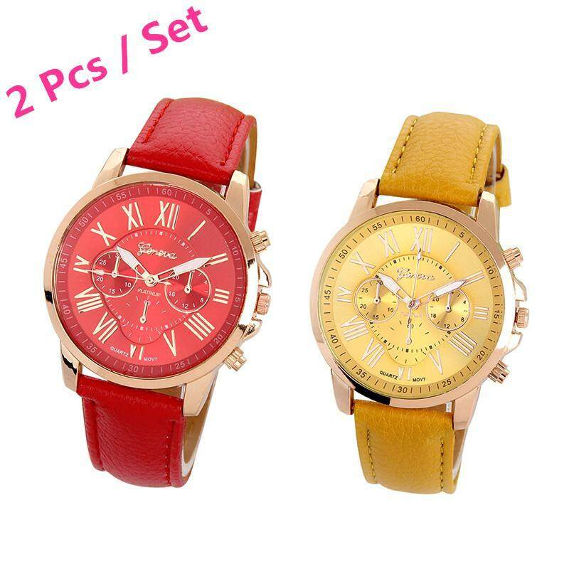 Womens Geneva Roman Numerals Faux Leather Analog Quartz Watch 2 Pcs Set ( Red , Yellow ) Malaysia