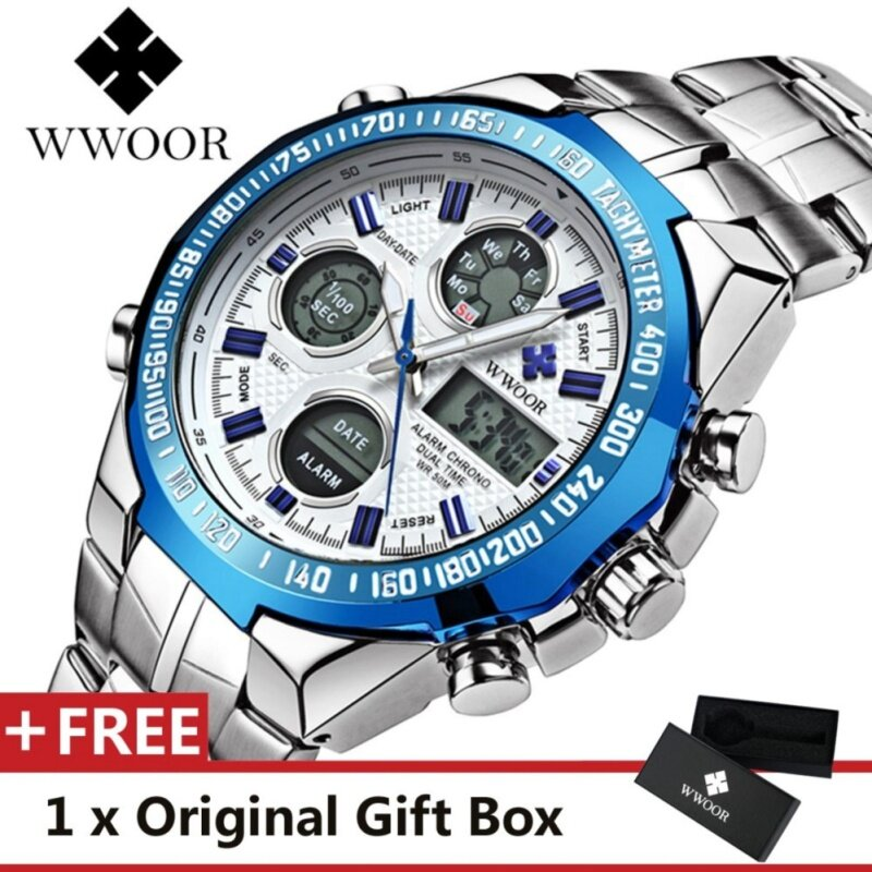WWOOR Top Luxury Brand Watch Famous Fashion Sports Cool Men Quartz Watches Calendar Alarm Stop Watch Waterproof Stainless Steel Wristwatch For Male Blue Malaysia