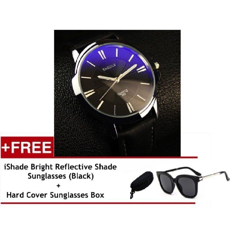 Yazole Black Round Dial Stainless Steel Back Water Resistance Black Strap Leather Watch (Black) Free iShade Vintage Ladies Eyewear Square Retro Design Sunglasses (Black) Malaysia